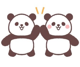ハイタッチをする双子の子供パンダ