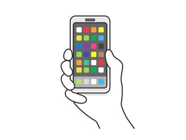 スマートフォンを持つ手のイラスト