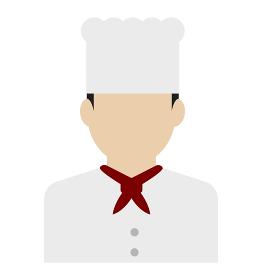 上半身シルエット人物イラスト (アジア人・日本人・白人) / コック・シェフ・料理人