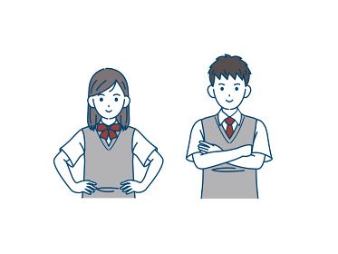 堂々と自信に満ち溢れた学生 中高生 高校生 中学生 男女 イラスト素材