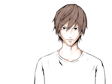 漫画風カラー_白シャツ男_睨みつける_横
