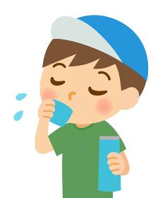 水分補給する男の子