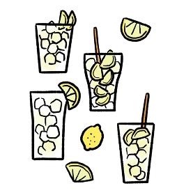 レモンサワーのイラスト素材セット