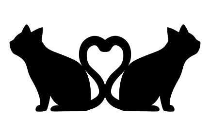 しっぽがハートの猫のシルエット