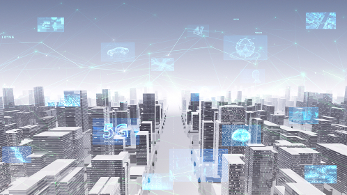 デジタル 通信 ネットワーク テクノロジー 都市 街 データ ビル 建物 オフィス ビジネス 背景
