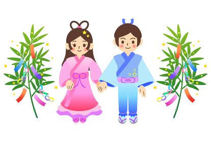 七夕の笹飾りと織姫と彦星のイラスト