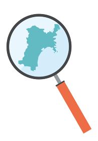 虫眼鏡ルーペ拡大鏡と宮城県の詳細地図東北地方|都道府県別地図のイラスト ベクターデータ