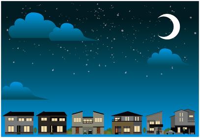 夜の住宅街風景イラスト