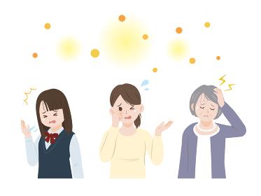 花粉症に困る女性達 アレルギー イラスト素材