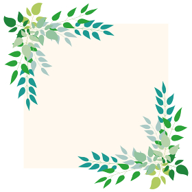 いろいろな緑の葉っぱを上部に並べた背景イラスト