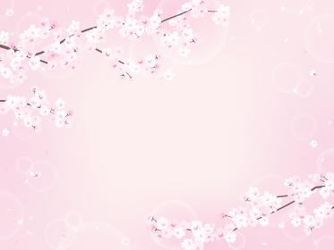 桜とキラキラピンクの背景素材