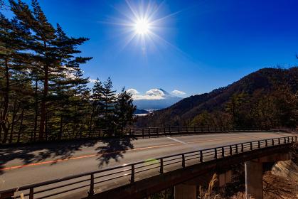 御坂峠の富士見橋から望む富士山