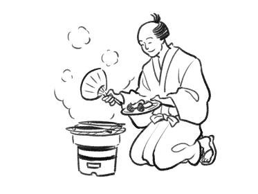 日本画タッチの七輪で松茸とサンマを焼く人物イラスト