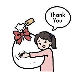 プレゼントを貰う女の子のイラスト