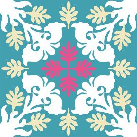ハワイアンキルトのパターン 植物|背景イラスト夏のイメージ ベクターデータ