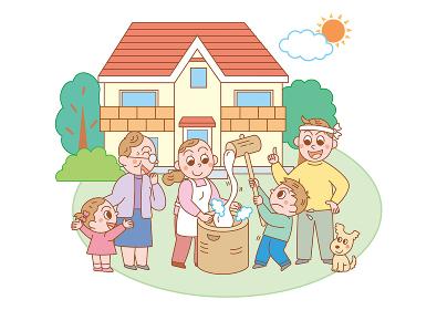 庭で餅つきをする息子を指導する父親と応援する家族
