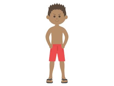 水着を着た日焼けした男性のイラスト