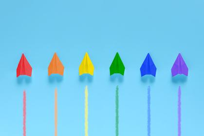 6機の虹色の紙飛行機 1