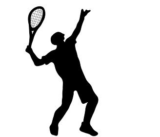 スマッシュを打つテニスプレーヤーのシルエット