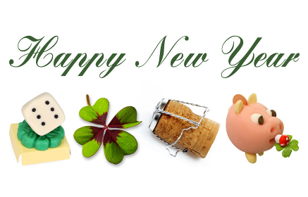 happy new year with lucky symbols
