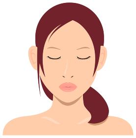 若い日本人女性モデル 上半身イラスト(美容・フェイスケア) / キス・キスの顔
