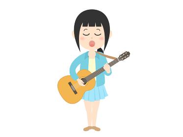 ギターを持って歌う女性ミュージシャンのイラスト