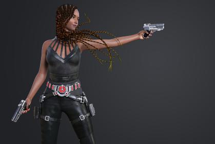 グレーバックに長い三つ編みヘアの黒人女性が両手にシルバーの銃を持ち的を打つ