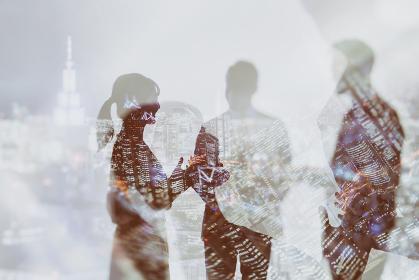 会話をするビジネスパーソンの抽象的なイメージ