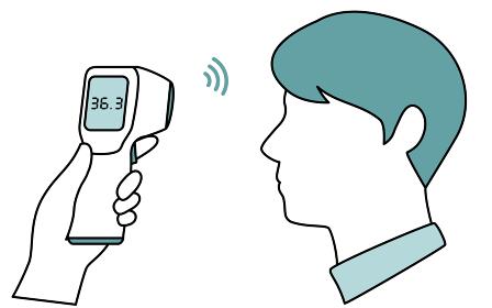 非接触型体温計で体温測定する男性のイメージ