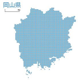 岡山県の詳細地図中国地方 都道府県別ドット表現の地図のイラスト ベクターデータ