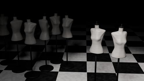 女性 トルソーマネキン アパレル 集団 暗闇 3DCG 背景