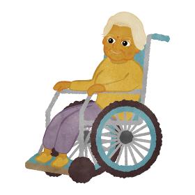 車いすに座っているかわいいインド人のおばあちゃんのイラスト