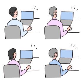 ノートパソコンでパソコン作業がうまくいって喜んでいる笑顔の人物セット