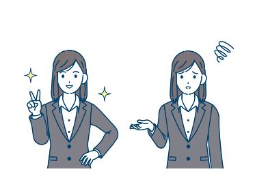スーツ姿の女性 会社員 ピースする 困るポーズ イラスト素材