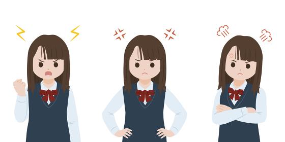 学生 女子生徒 美少女 怒る 激怒 表情 ポーズ 上半身 イラスト素材