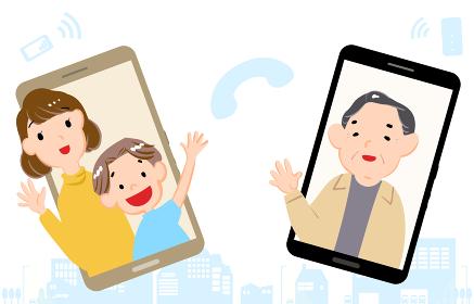 スマホでビデオ通話をする祖父と孫のイラスト
