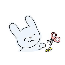 ウサギの爪切りのイラスト(青色)