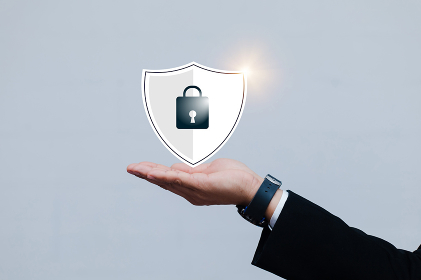 Asian male businessmen with Security lock cyber is a key safe device