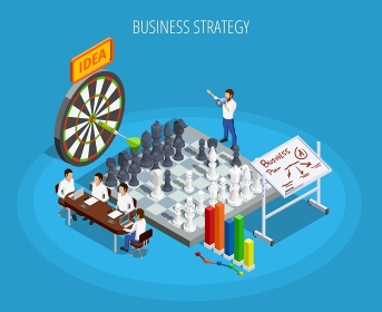 Business Planning Isometric Template. Business planning isometric template with targets setting and choice of right strategy isolated vector illustration