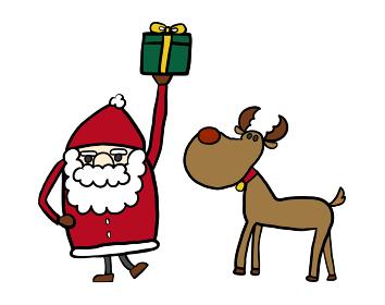 クリスマスに使えるサンタとトナカイ,プレゼントのシンプルでかわいいイラスト。