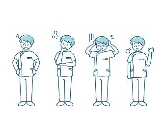 白衣を着た男性看護師の感情表現イラスト(全身)