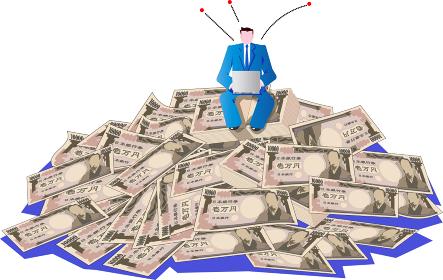 ネットビジネスで稼ぎ札束に埋もれるビジネスマン