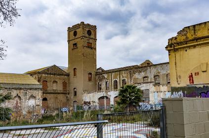 Abandoned neighborhood in the business area of Barcelona