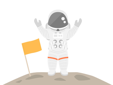 上陸した宇宙飛行士のイラスト