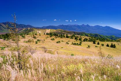 長野県・車山 初秋の登山道から眺める南八ヶ岳の風景