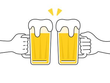 ビールジョッキを持って乾杯するイラスト