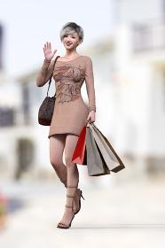 買い物中の長袖Tシャツワンピースを着た女性がたくさん紙袋を持ちながらこちらに手を振っている