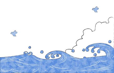 夏の背景素材、海と入道雲とカモメ
