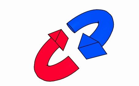 斜めに傾いた赤と青の矢印のループ【黒淵アリ】