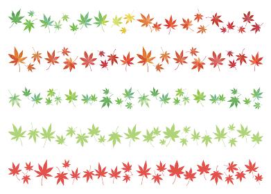 もみじの葉 紅葉 ライン素材5種類セット 水彩画と単色 緑から赤色のグラデーション